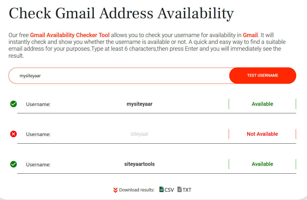 Siteyaar Gmail username and email address availability checker tools result screen